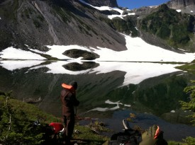 Field Sampling at Upper Bagley Lake. Photo by Bowei He