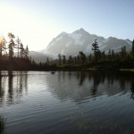 Field sampling at Picture Lake. Photo by Bowei He