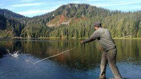 Collecting planktonic algae with a tow net at Boardman Lake