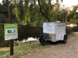 One of the trailer-mounted nanobubble generators deployed near an urban lake for deep-water oxygenation.